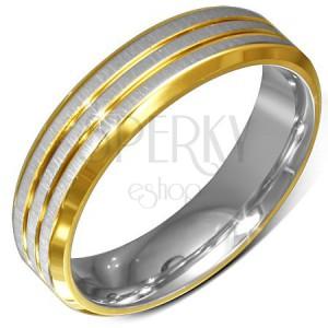 Gyűrű sebészeti acélból, arany-ezüst színű, lemetszett szélek