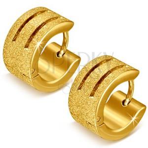 Arany színű szemcsés fülbevaló acélból - kerek