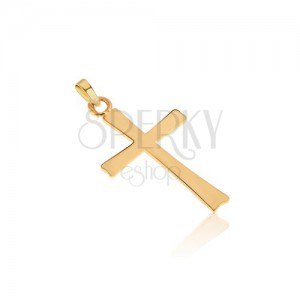 14K arany medál - lapos tükörfényű latin kereszt, sima