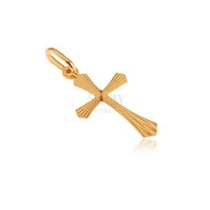 Fényes arany medál - sugaras díszítésű latin kereszt, lemetszett szélek