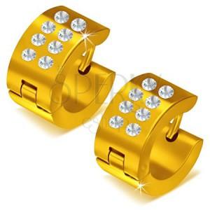 Fényes kerek acél fülbevaló arany színben, átlátszó kövek