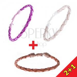 Karkötő szett 2+1 ingyen - ovális fonat bőrből, többszínű