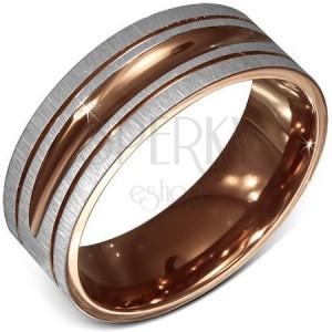 Gyűrű sebészeti acélból, szatén, kétszínű, díszvésetek