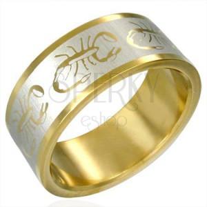 Gyűrű sebészeti acélból, arany-ezüst szín, skorpió