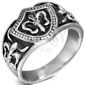 Gyűrű sebészeti acélból, Fleur de Lis pecsét