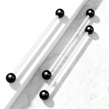 Hajlékony piercing fekete titánium golyócskákkal