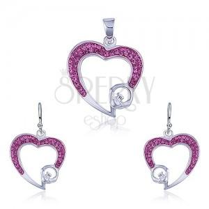 Ezüst szett - medál és fülbevaló, rózsaszín cirkóniás szívkörvonal