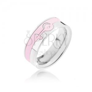 Ezüst-rózsaszín acél gyűrű - női szimbólum