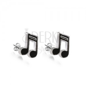 Fülbevaló 925 ezüstből - fekete nyolcad hangjegy
