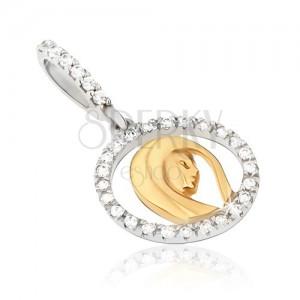 Arany medál - medálkörvonal cirkóniákkal, női fej, kétszínű