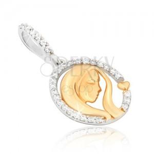 14K arany medál - kétszínű, ovális körvonal, női fej, szív