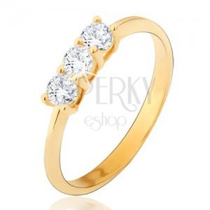 Gyűrű 14K sárga aranyból - három kerek átlátszó cirkónia, fényes, sima