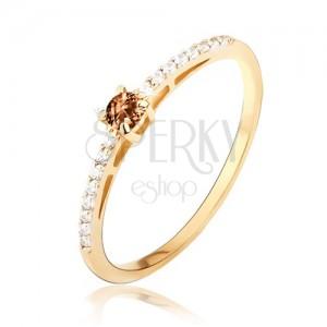 Arany gyűrű - fényes, sima, apró átlátszó cirkóniák