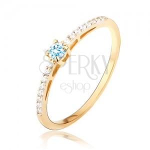 Gyűrű 14K sárga aranyból - fényes, sima, kék kő, apró cirkóniák