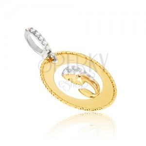 Medál sárga aranyból - ovális medál, bevágás, női fej, cirkóniák