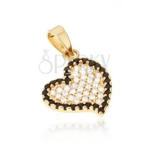 Medál 14K aranyból - szabálytalan szív, fekete és átlátszó kerek kövek
