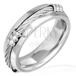 Gyűrű acélból kelta kötéllel keskenyedő széllel