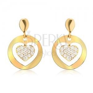 Arany fülbevaló, kerek lapos körök kivágással, cirkóniás szív