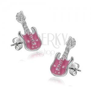 Fülbevaló 925 ezüstből - gitár rózsaszín fénymázzal