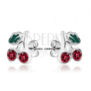 Fényes ezüst fülbevaló - két cseresznye