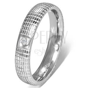Ezüst színű acél gyűrű átlátszó kővel és ráccsal