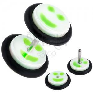 Akril fake plug fülbe, fehér-zöld smajli