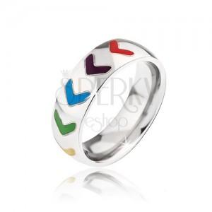 Fényes acél gyűrű, szines fénymázas nyilak
