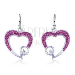 Fülbevaló 925 ezüstből - rózsaszín szívkörvonal