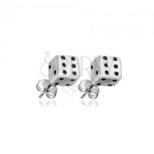 Fülbevaló 925 ezüstből - fehér*fekete játékkockák