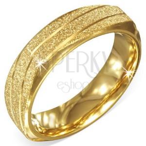 Arany színű szögletes acél gyűrű, szemcsés ferde bevágásokkal