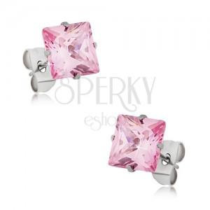 Acél beszúrós fülbevaló, rózsaszín négyzetes cirkónia - különböző nagyságok