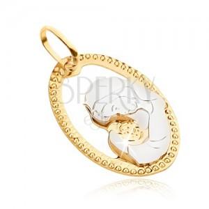 Medál 14K aranyból - díszített ovális keret, gravírozott Madonna