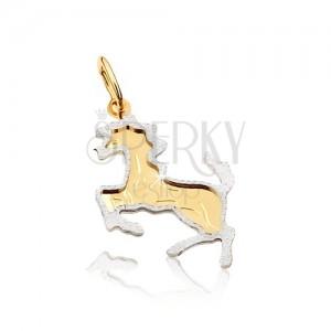 Kétszínű arany medál - hátsó lábaira álló ló, gravírozott