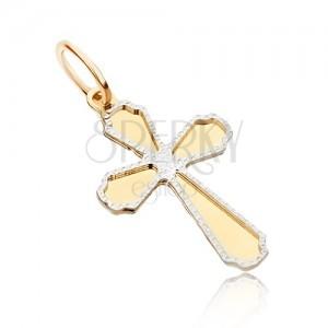Medál 14K aranyból - kétszínű, lapos fényes kereszt, díszített körvonal