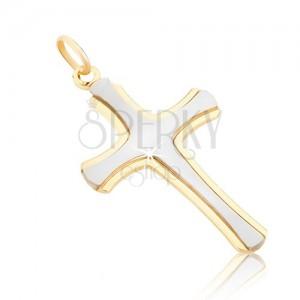 Medál 14K aranyból - matt latin kereszt fehér aranyból, fényes szélek