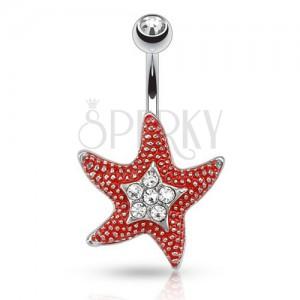 Acél köldökpiericng átlátszó kővel, piros csillag