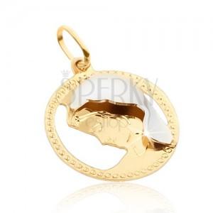 Arany medál - kerek díszített keret, Madonna, arany-fehér kombináció