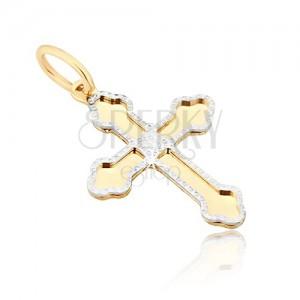Arany medál - fényes kereszt, háromcsúcsos lekerekített szárak, díszített körvonal