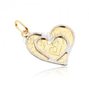 Medál 14K sárga aranyból - szabálytalan lapos szív, díszített körvonalak