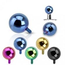 316L acél kiegészítő golyó az implantátumhoz - anodizált felület, különböző színkombinációk, 3 mm