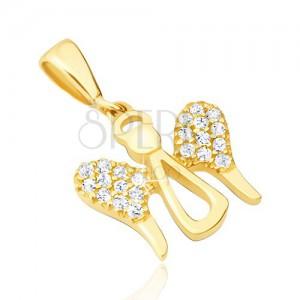14K arany medál - angyal szimbólum cirkóniás szárnyakkal