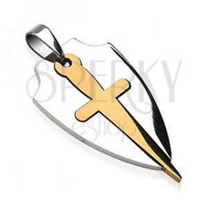 Nemesacél medál - ezüst címer, arany kard