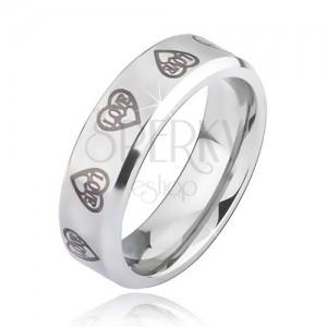 Ezüst színű acél gyűrű - szürke szívkörvonal és LOVE felirat