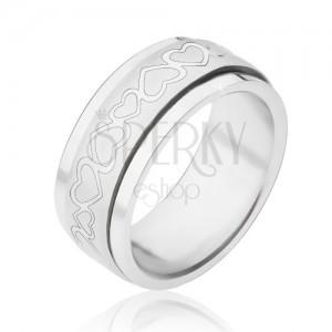 Gyűrű acélból - forgatható matt gyűrű szivekkel