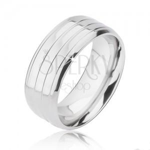 Ezüst színű gyűrű titánból - három sáv és lemetszett szélek
