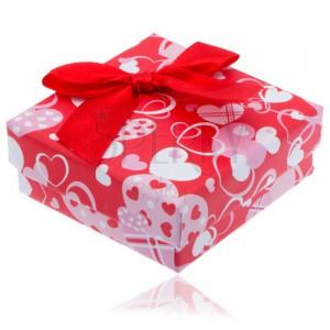 Piros szívecskés dobozka fülbevalóra piros masnival