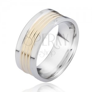 Kétszínű acél gyűrű lekerekített arany színű sávokkal