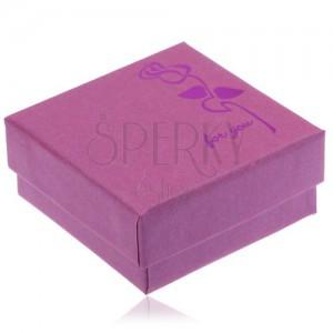 Lila-rózsaszín dobozka fülbevalóra, fényes ciklámen rózsa