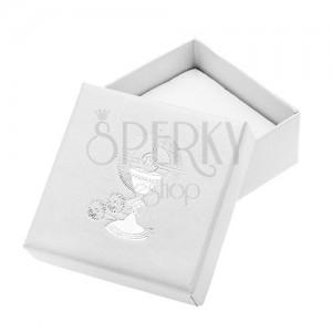 Gyöngyházfényű fehér ajándékdoboz fülbevalóra ezüst színű kehelyel