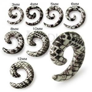Csiga fülbe - fehér barna expander kígyó motívummal